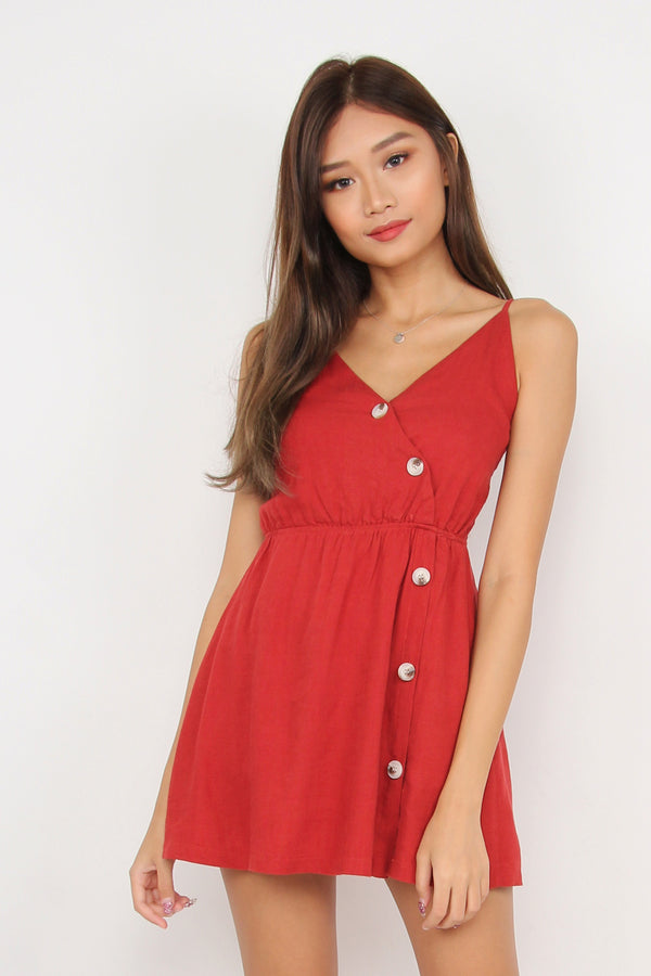 On Track Button Romper Dress (Red)