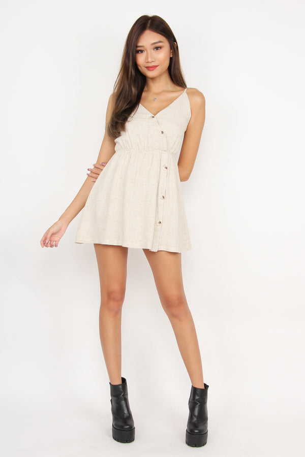 On Track Button Romper Dress (Cream)