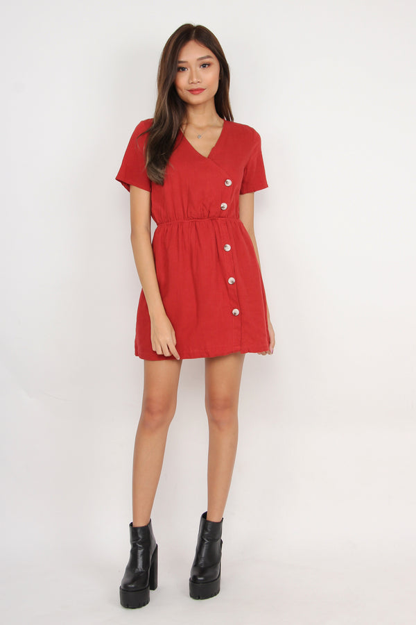 Button Your Way Down Romper Dress (Red)