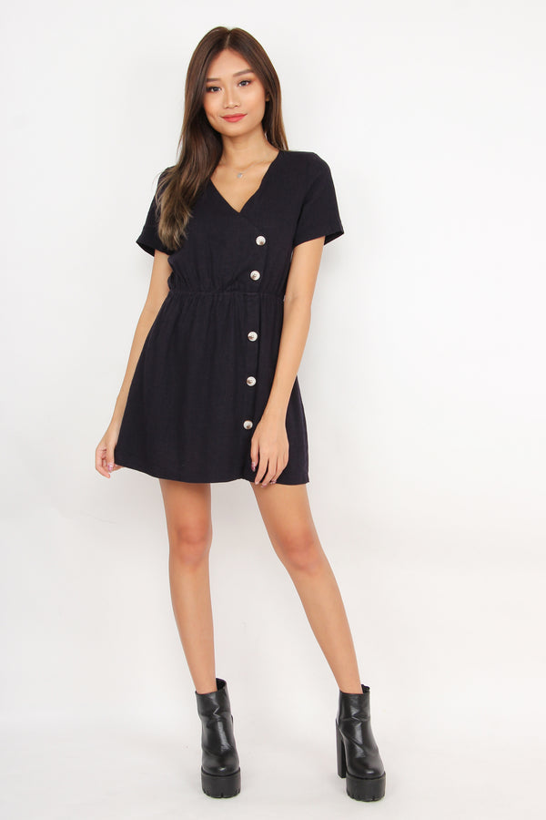Button Your Way Down Romper Dress (Navy)