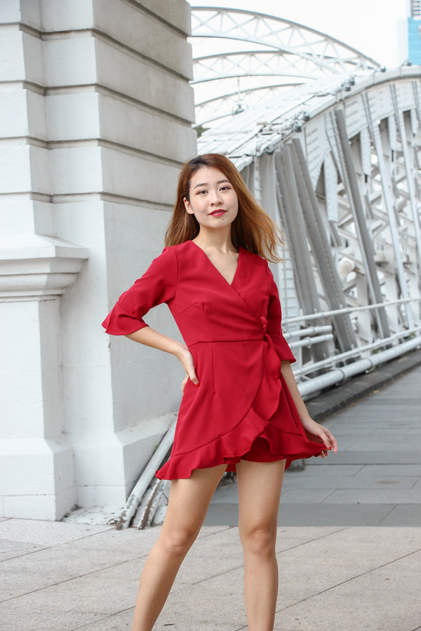 Liza Ruffles Romper Dress (Lucky Red)