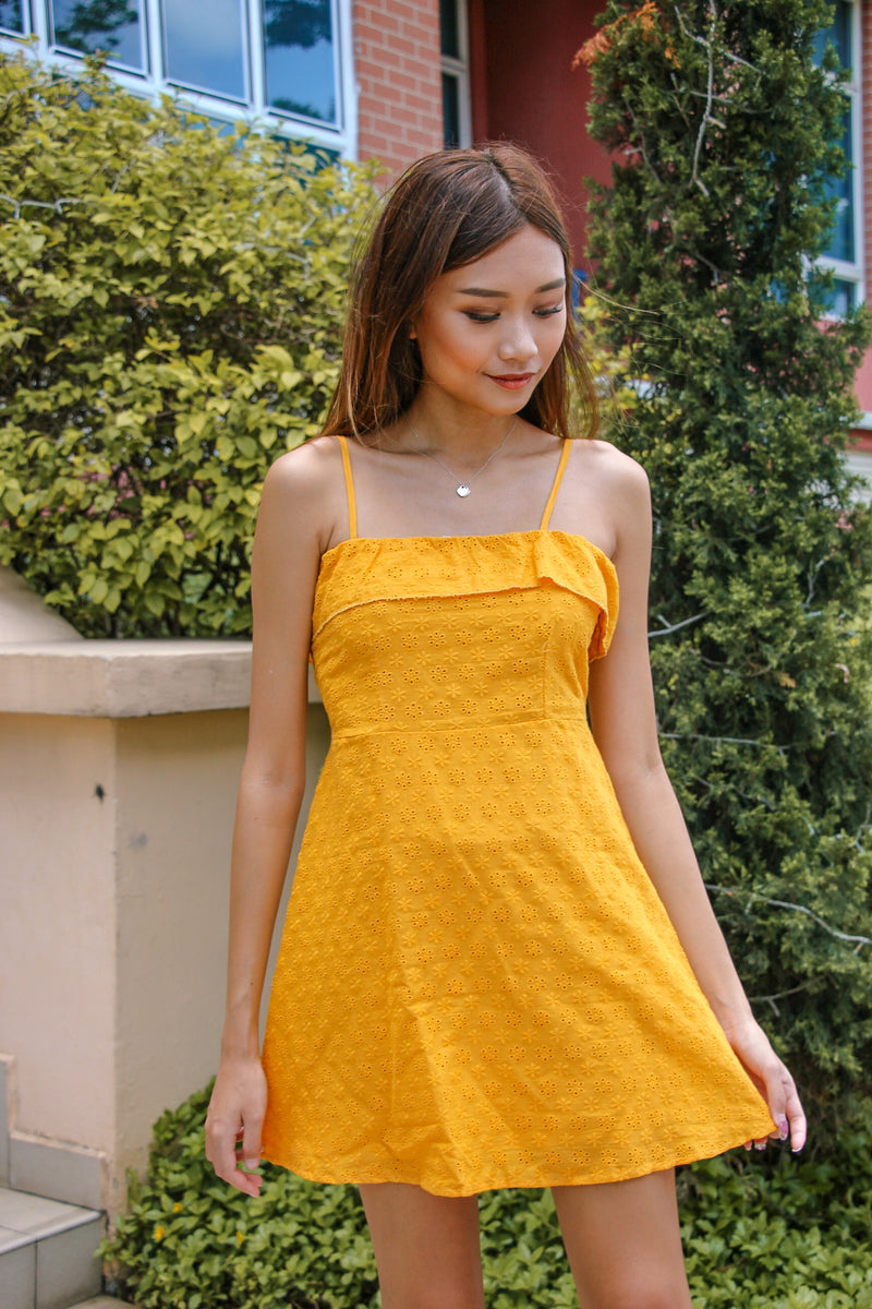 The Go To Eyelet Dress (Butter Corn)