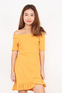 Rachele Ruffle Off Shoulder Dress (Sunshine)