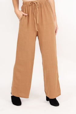 On Holiday Linen Pants (Camel)