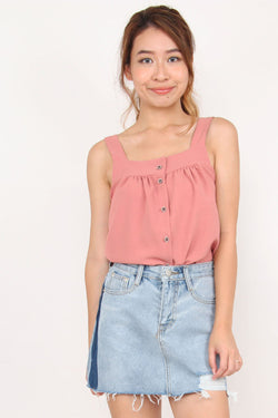 Esmee Button Down Top (Dusty Rose)