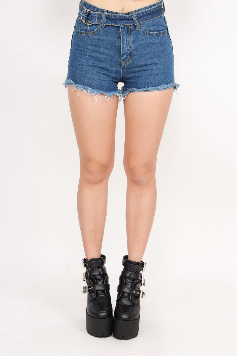 Rebel Belted Frayed Denim Shorts (Dark Denim)
