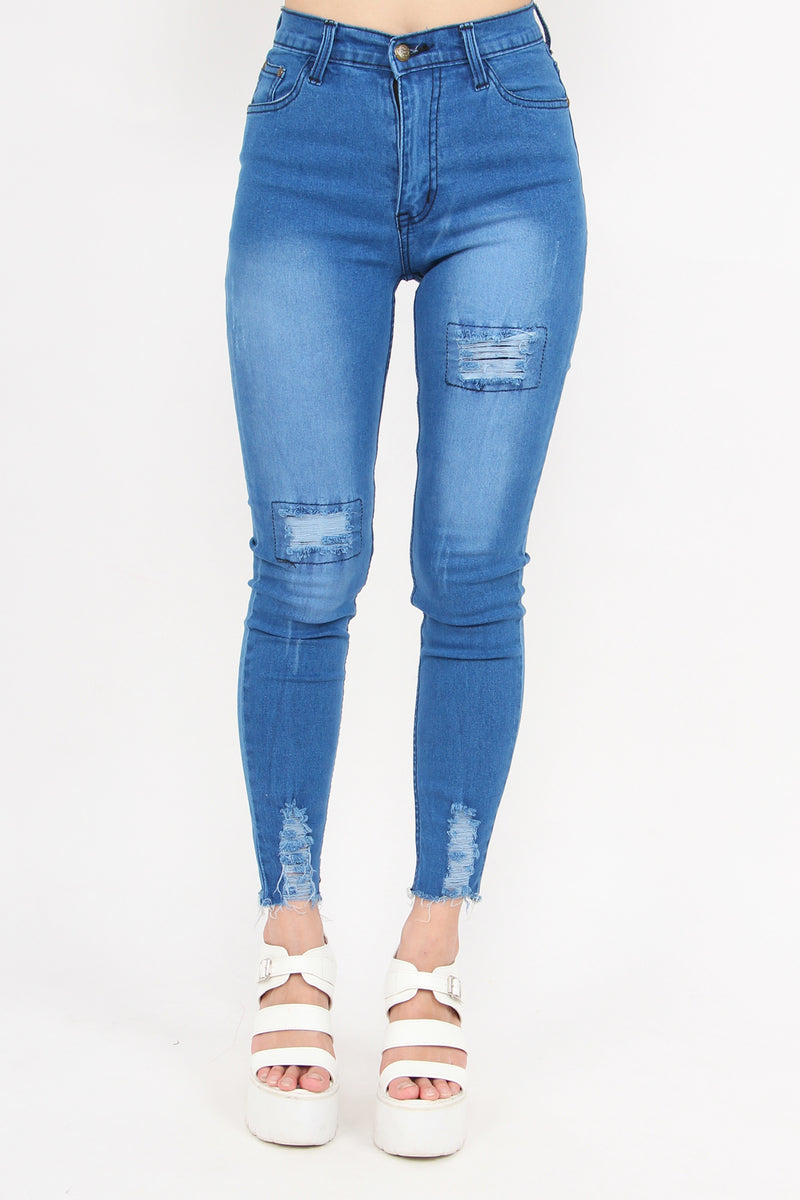Rebel Patch Work Distressed Jeans