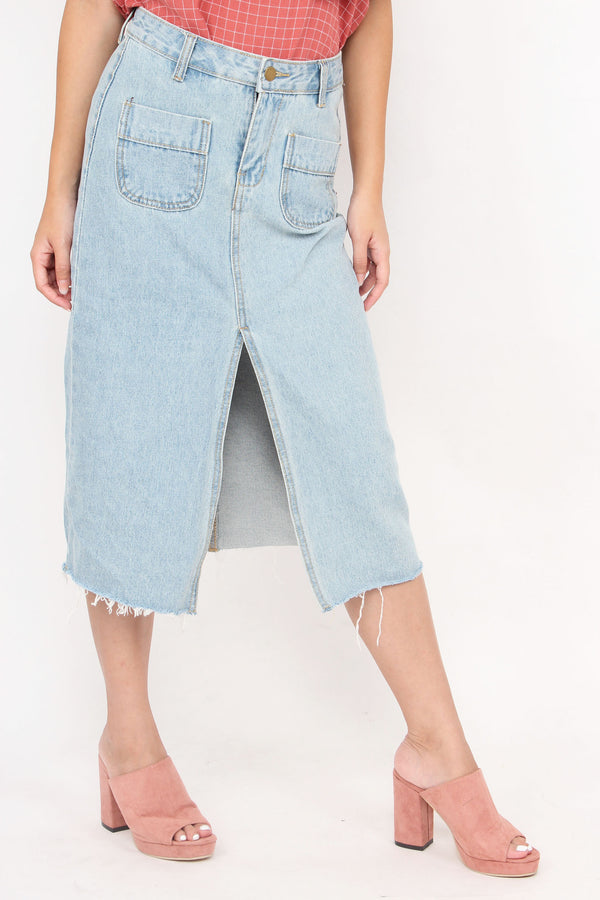 Jennifer Slit Denim Skirt