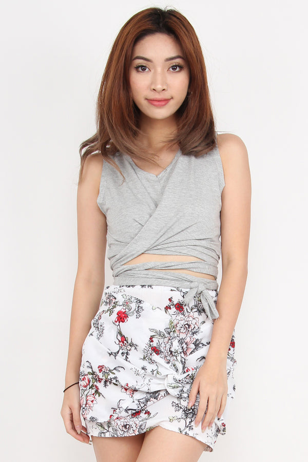 Rebel Wrap Attempt Crop Top (Grey)