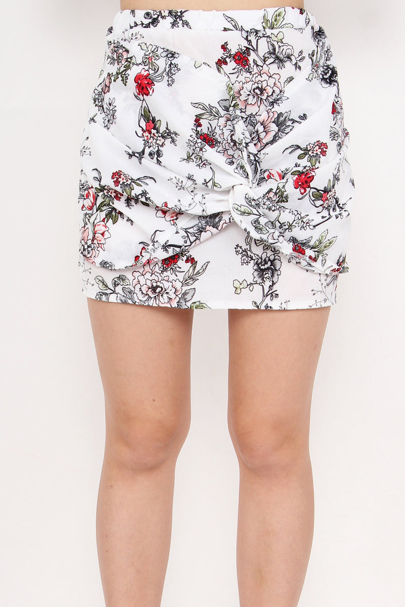 Rebel Tie A Knot Floral Skirt (White Elegance)
