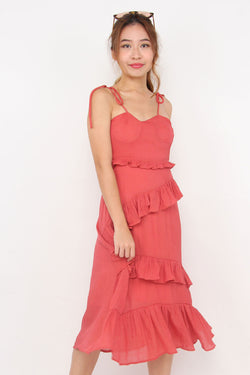 Tracy Tiered Ruffle Dress (Coral Red)