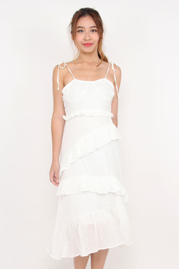 Tracy Tiered Ruffle Dress (White)