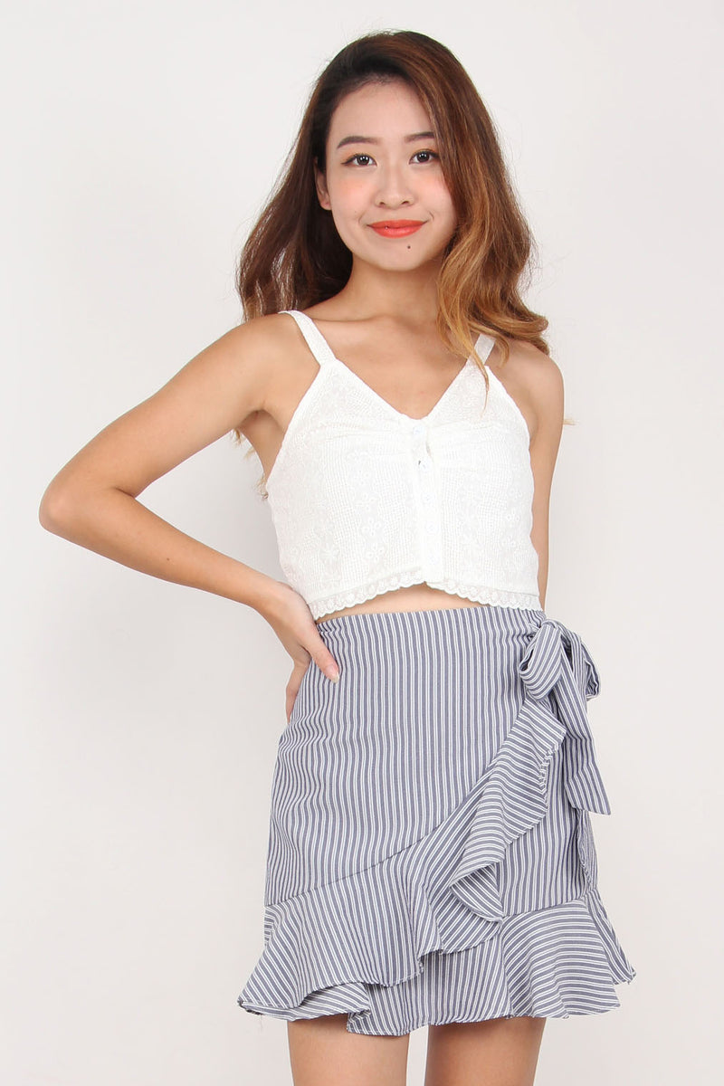 Summer Eyelet Ruched Top (Stripe)