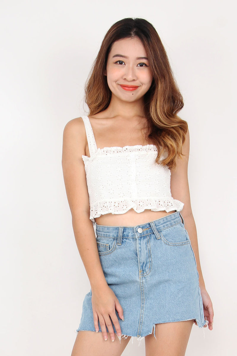 Summer Eyelet Ruffle Crop Top (Bloom)