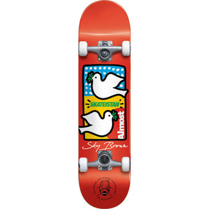 Almost Sky Brown Double Doves Skateistan Red complete skateboard 7.5""