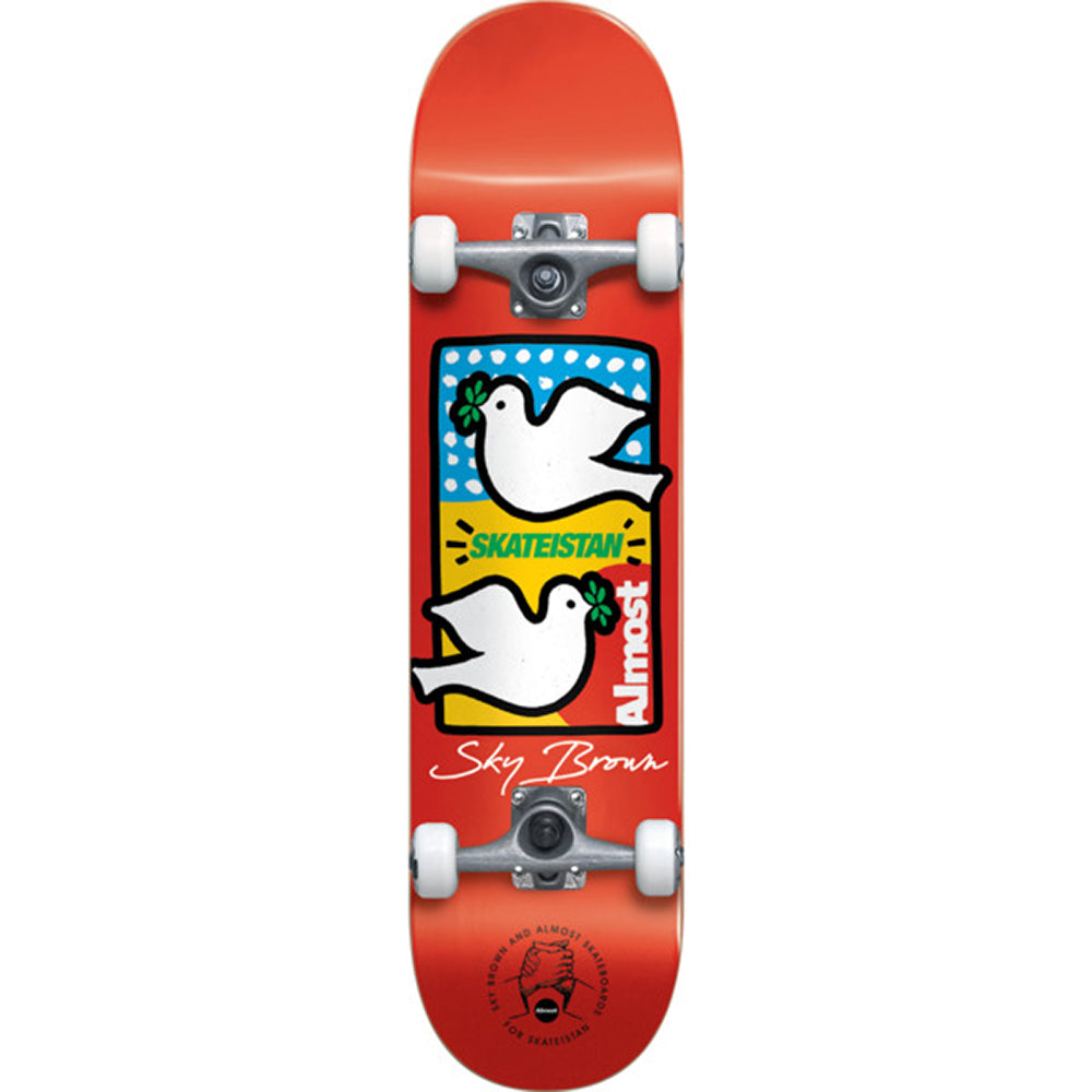 Almost Sky Brown Double Doves Skateistan Red complete skateboard 7.5