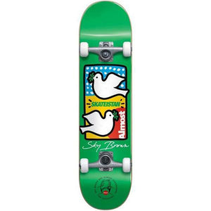 Almost Sky Brown Double Doves Skateistan Green complete skateboard 7.5""