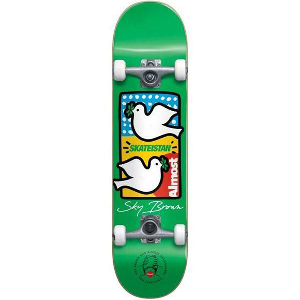 Almost Sky Brown Double Doves Skateistan Green complete skateboard 7.5