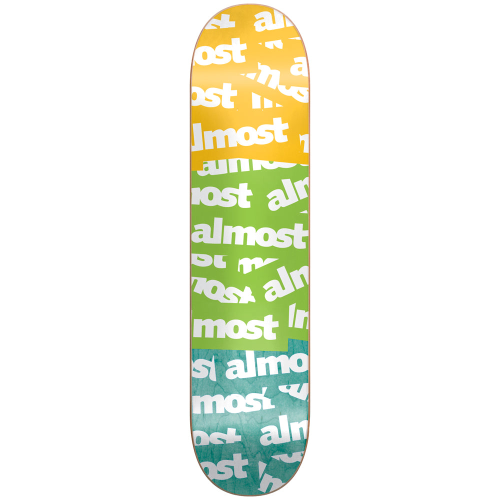 Almost Plastered yellow/green/teal deck