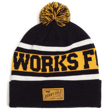 Load image into Gallery viewer, Benny Gold Works For Jerks navy knit pom beanie