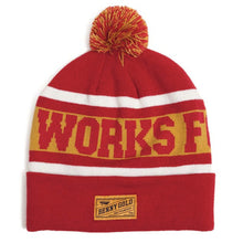 Load image into Gallery viewer, Benny Gold Works For Jerks red knit pom beanie