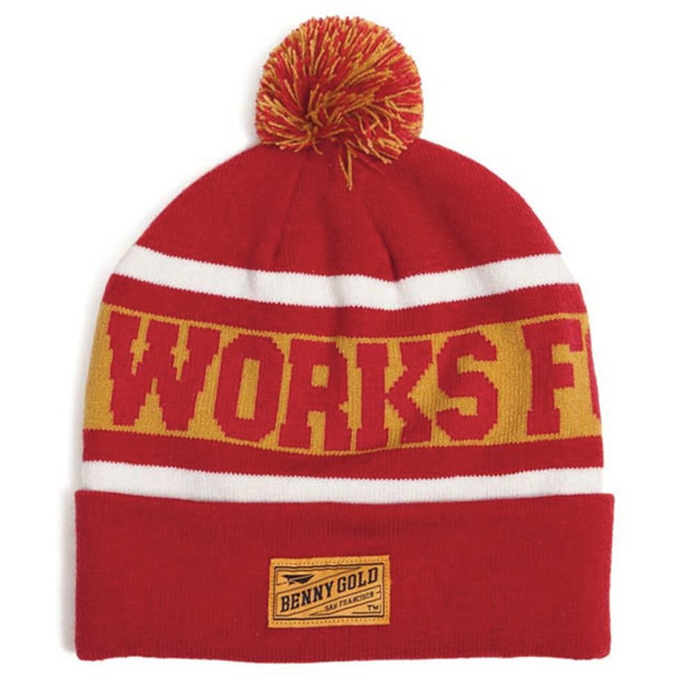 Benny Gold Works For Jerks red knit pom beanie