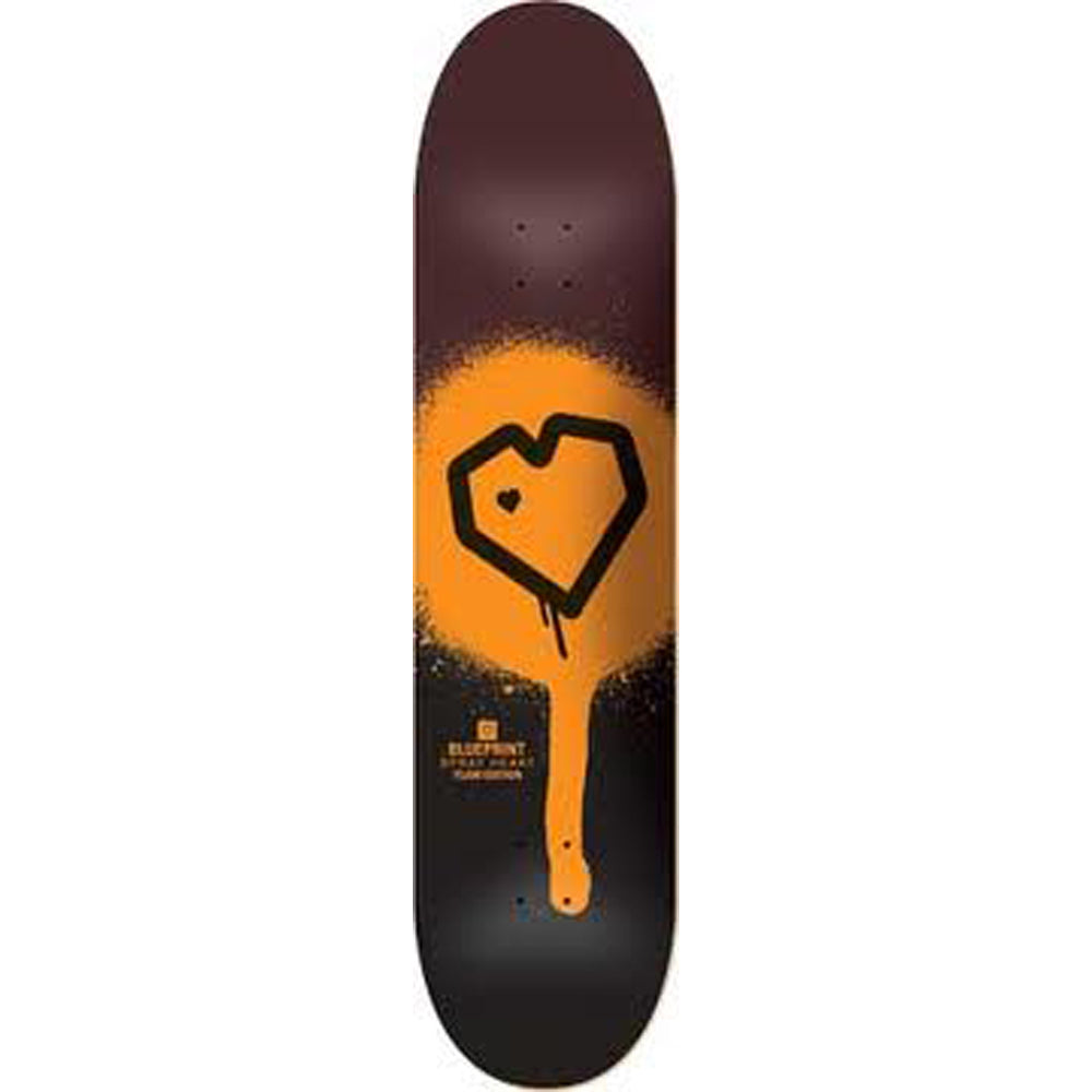 Blueprint Spray Heart black/orange deck