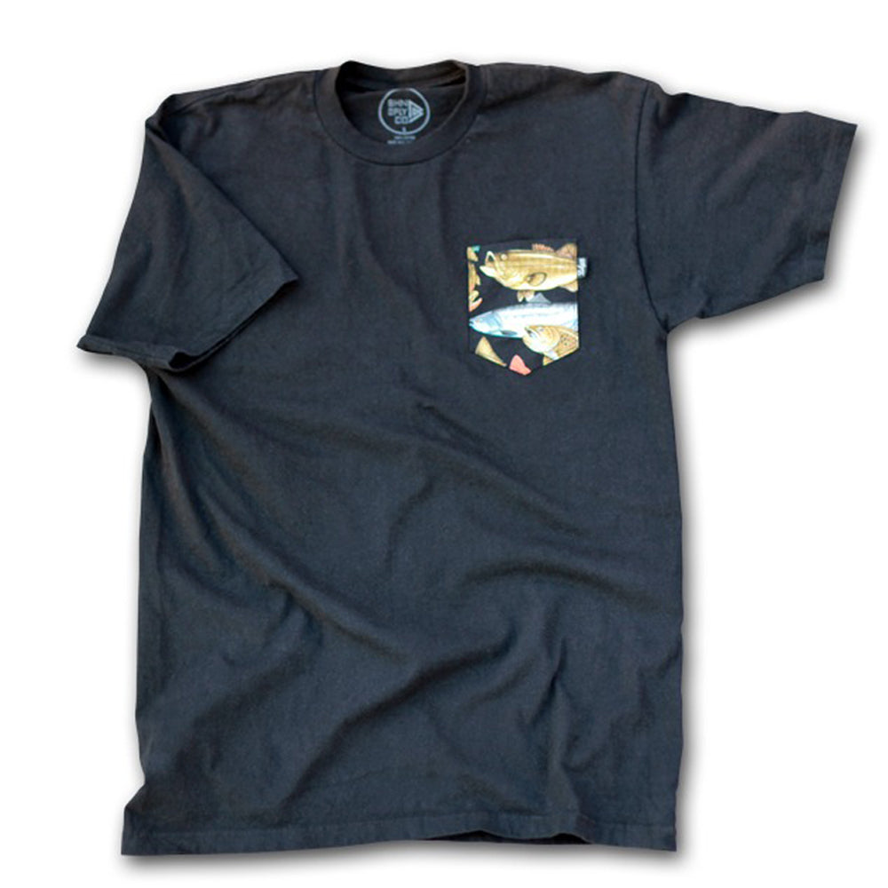Bohnam Gamefish black pocket T shirt