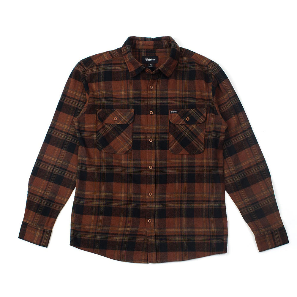 Brixton Bowery brown/black button up shirt