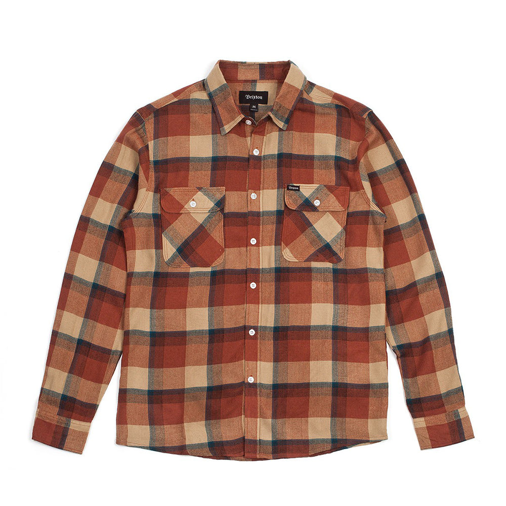 Brixton Bowery cream/rust longsleeve button up flannel shirt