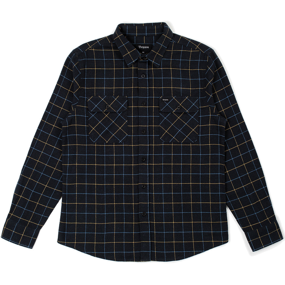 Brixton Bowery Flannel Shirt washed black/blue