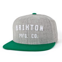Load image into Gallery viewer, Brixton Arden heather grey/kelly green snapback cap
