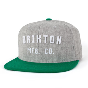Brixton Arden heather grey/kelly green snapback cap