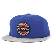 Load image into Gallery viewer, Brixton Council royal/heather grey snapback cap