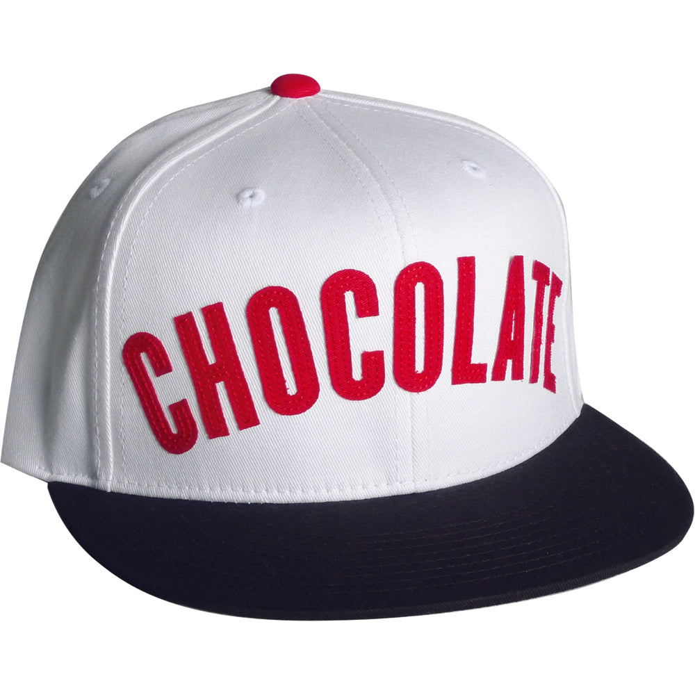 Chocolate League white/red snapback cap