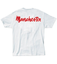 Load image into Gallery viewer, Chocolate Manchester Chunk Back white T shirt