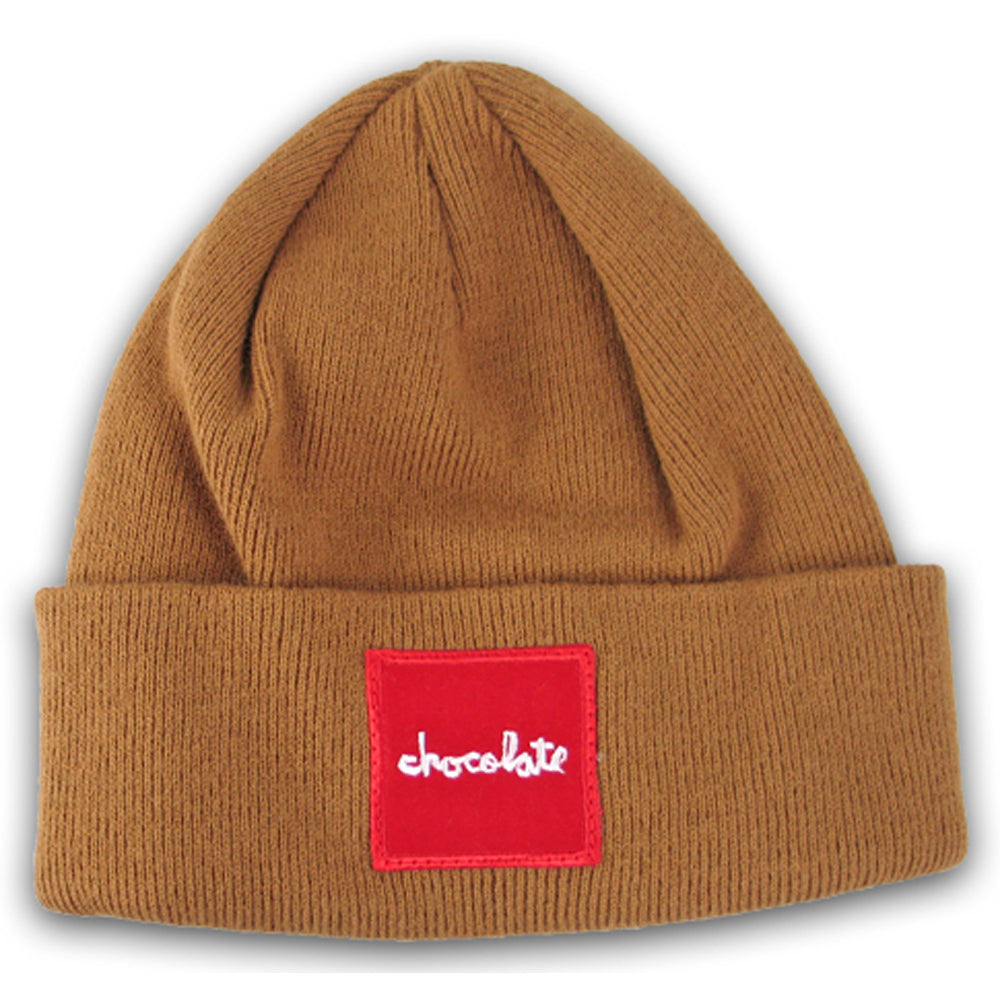 Chocolate Red Square camel beanie