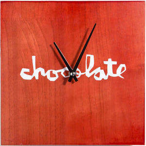 Chocolate Red Square Wall Clock