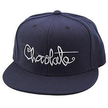 Load image into Gallery viewer, Chocolate Script navy strapback cap