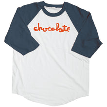 Load image into Gallery viewer, Chocolate Chunk navy/white 3/4 quarter sleeves baseball shirt