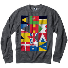 Load image into Gallery viewer, Cliche Flags charcoal heather crew