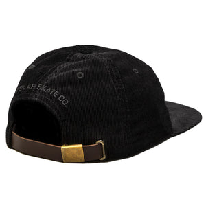 Polar Corduroy black strap back cap