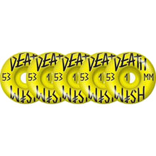 Load image into Gallery viewer, Deathwish Stacked Yellow 5 pack 53mm wheels
