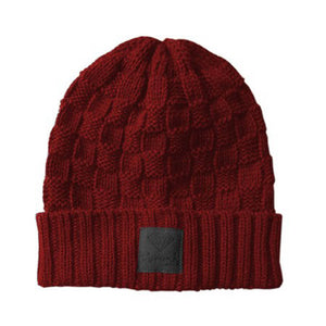 Diamond Checker Fold Red/Black Beanie