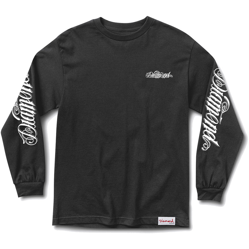 Diamond Giant Script long sleeve black T shirt