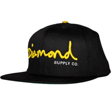 Load image into Gallery viewer, Diamond OG Logo black/yellow snapback cap