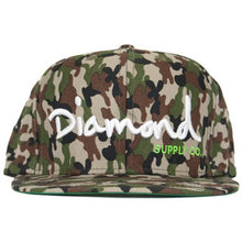 Load image into Gallery viewer, Diamond OG Logo camo/white/green snapback cap