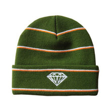Load image into Gallery viewer, Diamond Striped Green/Orange/White Beanie