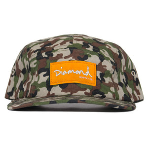 Diamond OG Script camo/orange 5 panel hat