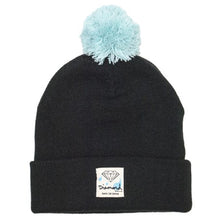Load image into Gallery viewer, Diamond Snow or Shine black/diamond blue beanie